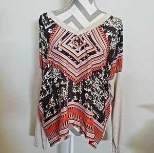 Cabi XL Oatmeal Aztec scarf blouse style 768